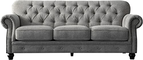 Acanva Collection Luxury Chesterfield Chenille Living Room Sofa, Couch, Light Grey