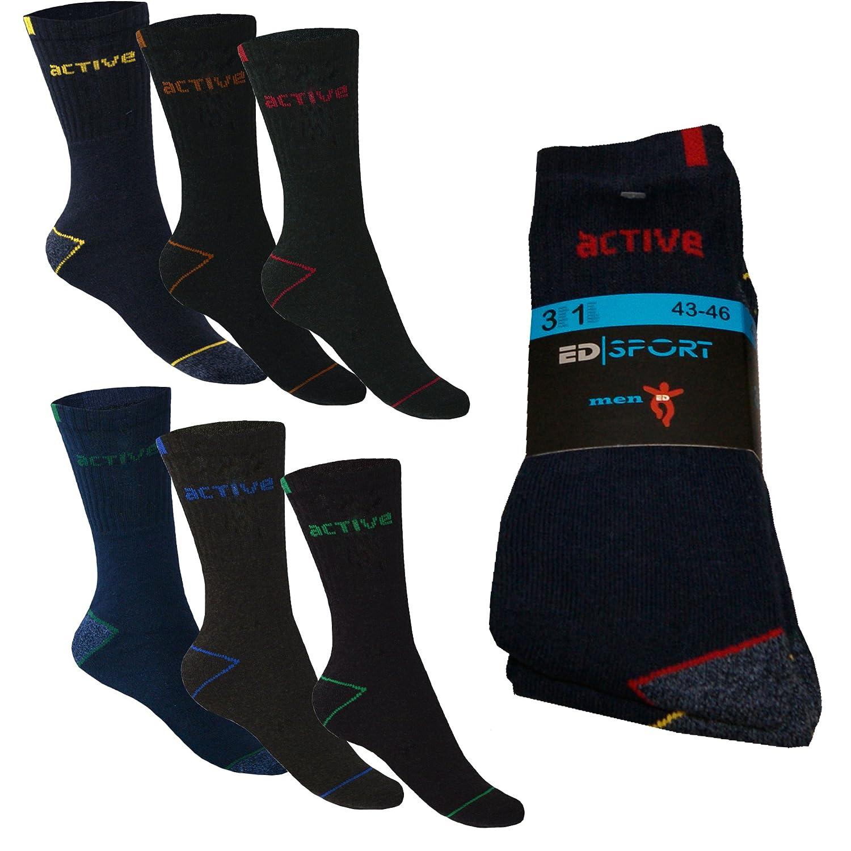 6 12 Paar Active Sport Freizeit Lauf Arbeits Socken Herren Neutral Baumwolle von SGS