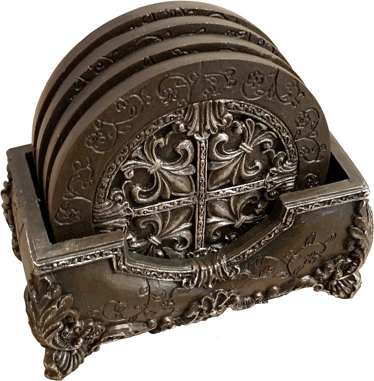 Top Brass Tuscan Fleur de Lis Ornate Decorative Coaster Set -