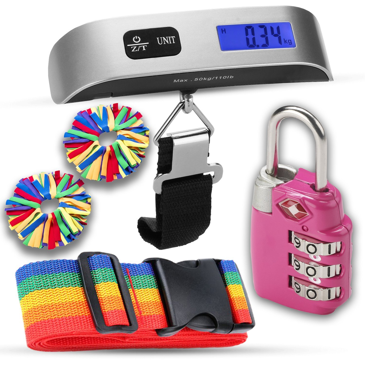 Luggage Accessories Kit, Luggage Scale, TSA Luggage Lock, pom id, luggage identifiers, great gift