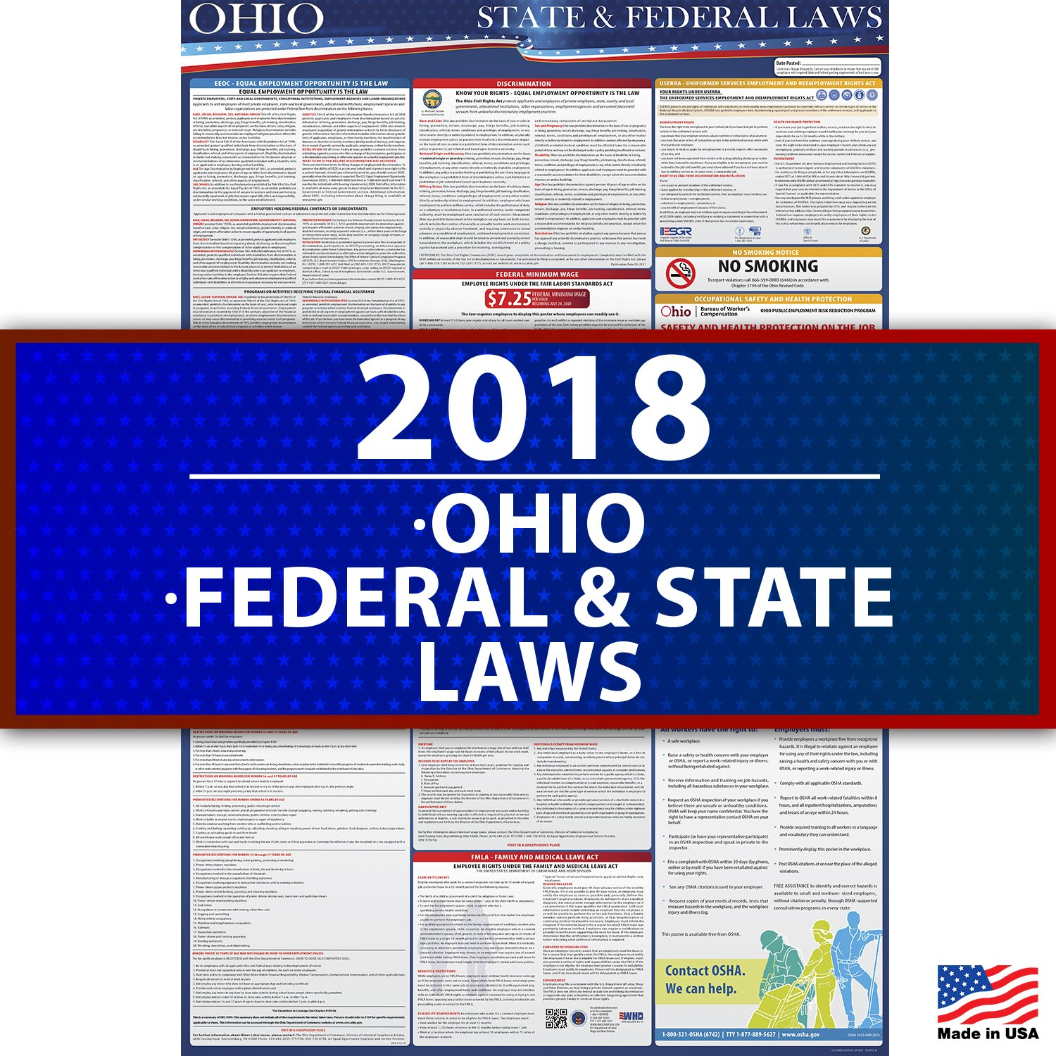 "2018 Ohio State and Federal Labor Law Poster - UV Coated 36"" x 24"" - Osha Compliant Compliance Audit Center OH2"