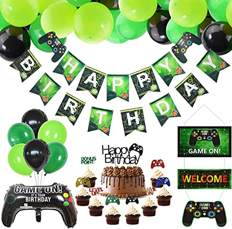 video game theme party decoration supplies Video game happy birthday banner