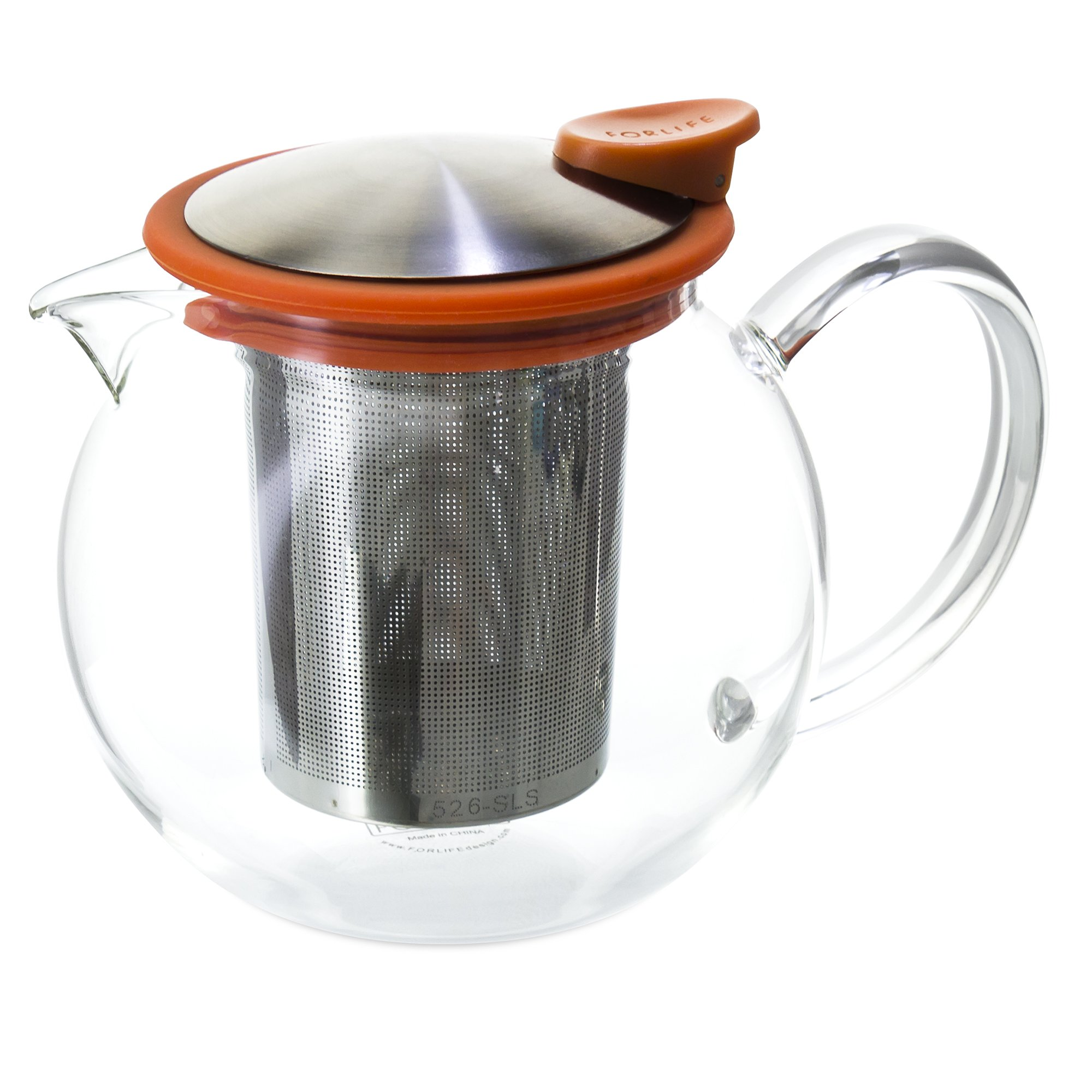 FORLIFE Bola Glass Teapot with Basket Infuser, 25oz./750ml., Carrot