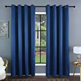 Kinryb Room Darkening Blackout Window Curtain Panels with Gromments,100% Full Light Blocking Drapes for Bedroom/Office/Kitche