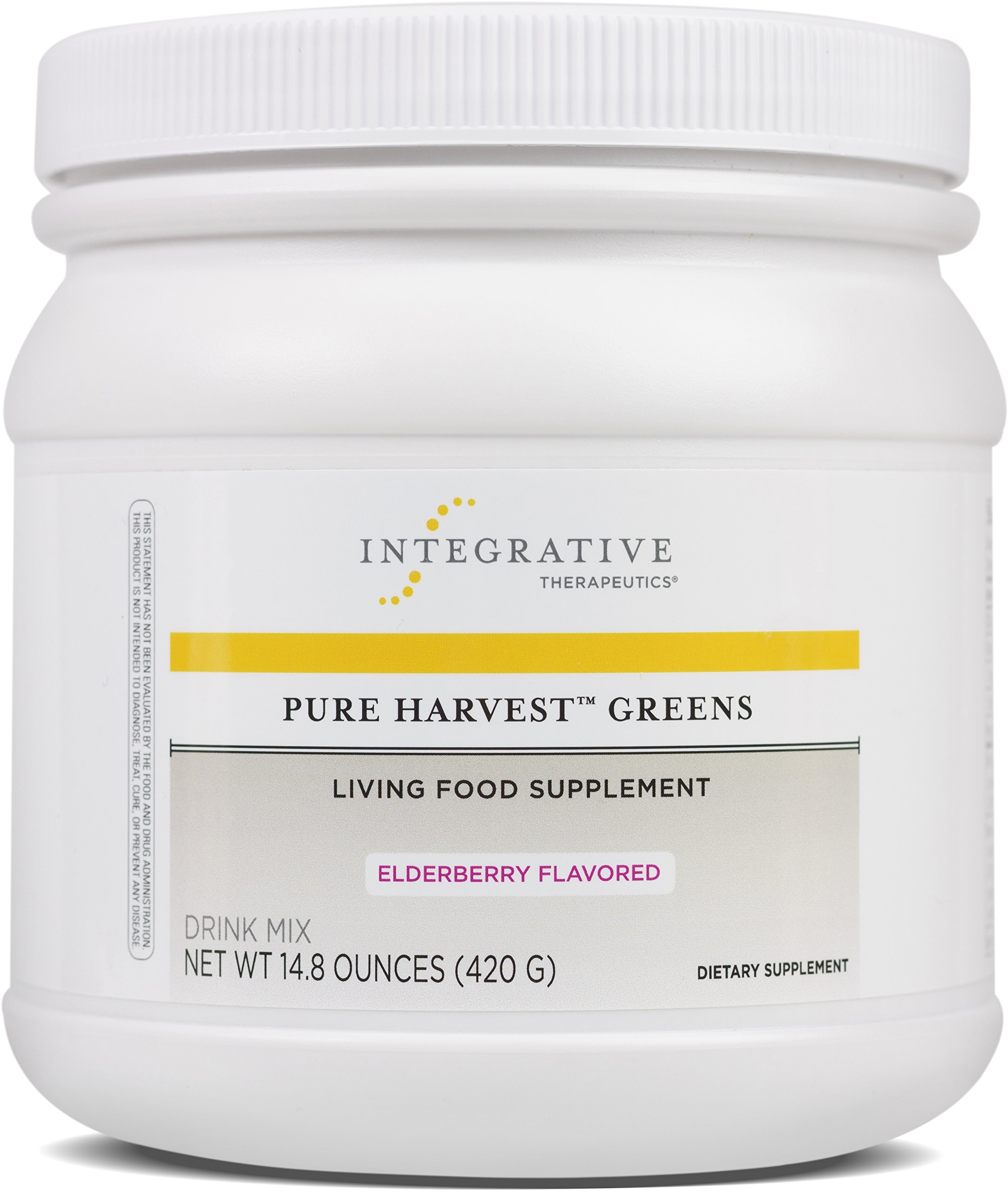 Integrative Therapeutics - Pure Harvest Greens Drink Mix - Living Food Supplement - Supports Enhanced Energy & Digestions, Helps Boost Immune System - Elderberry Flavor - 14.8 oz
