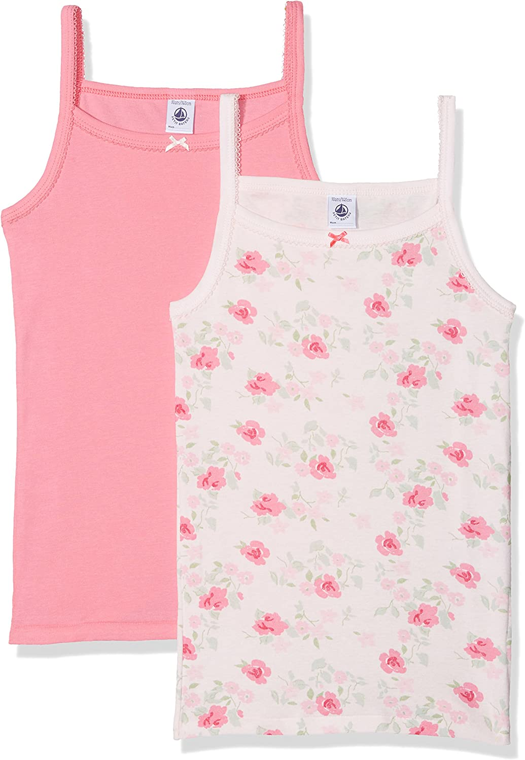 Petit Bateau Set of 2 Girls Camisoles-Undershirts Style 27928 Sizes 2-12