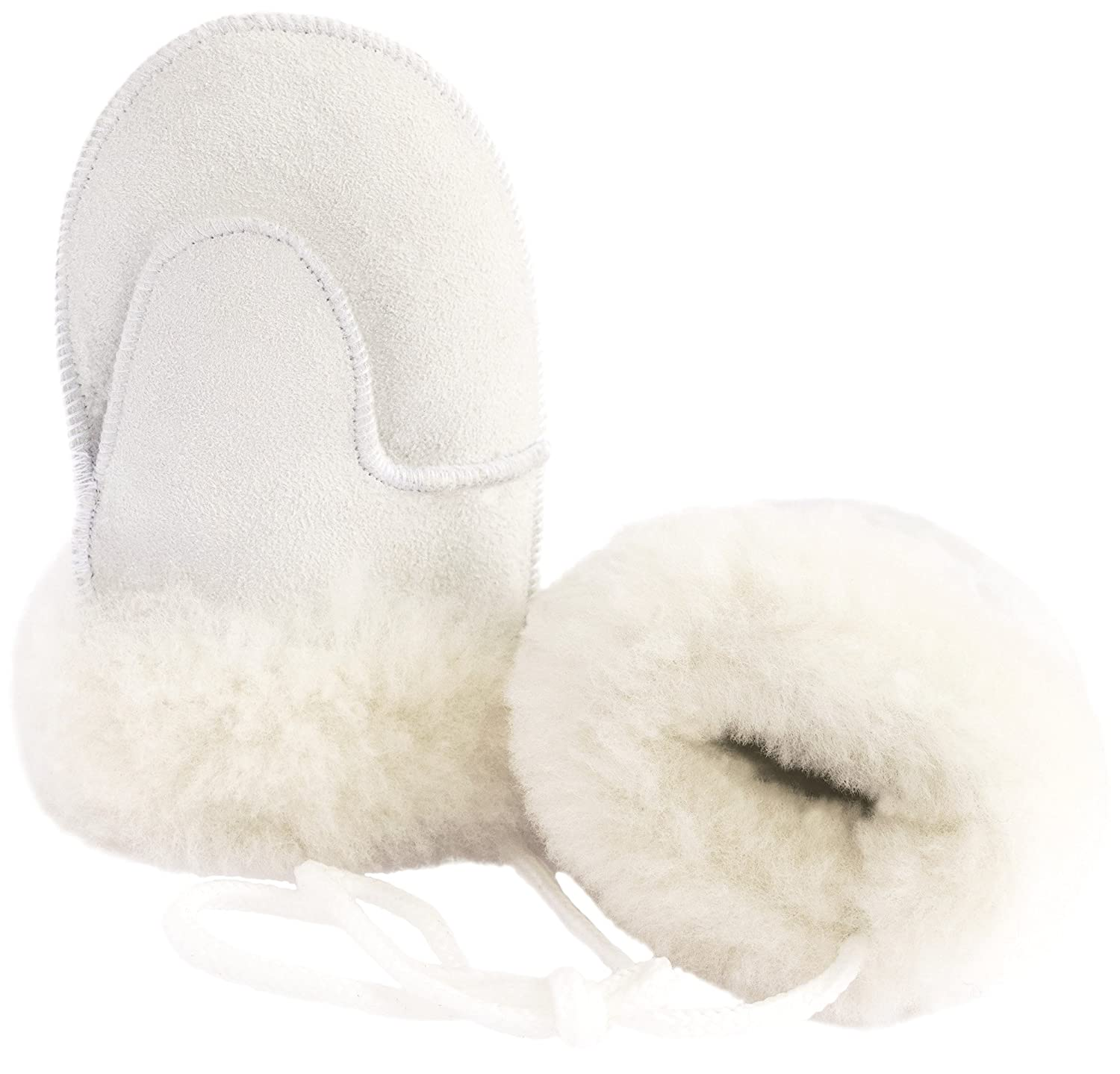 Ciora Baby Luxury Handmade 100% Lambskin Suede Mittens (White) With Cord (Medium) - GIFT BOXED Ciora Limited