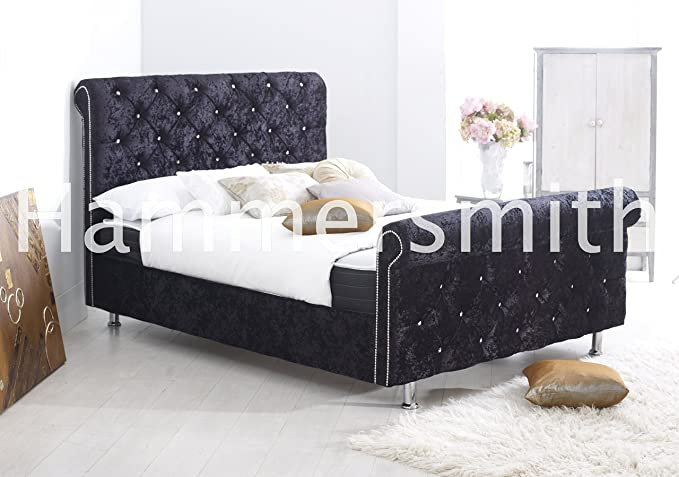 4 ft Chesterfield trineo cama tapizado - Funda (negro, PVC, de terciopelo piel): Amazon.es: Hogar