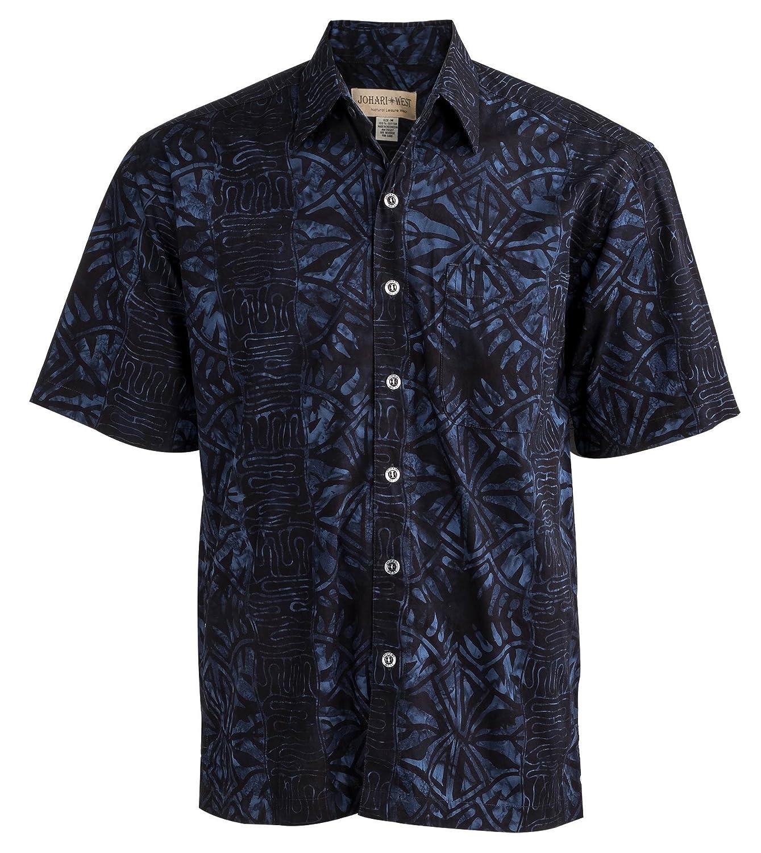 - Johari Johari Johari West Geometric Forest Tropical Hawaiian Batik Shirt by (Large, Navy) aba0a2