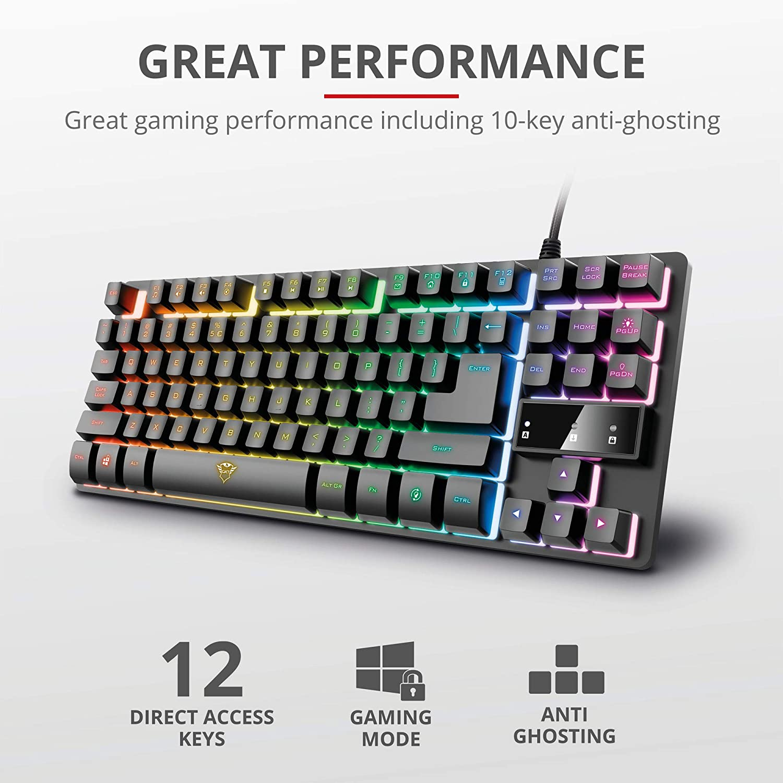 Trust Gaming Teclado Gamer TKL GXT 833 Thado Teclado Retroiluminado RGB Tenkeyless (20% más pequeño), Membrana, Disposición QWERTY Español, ...
