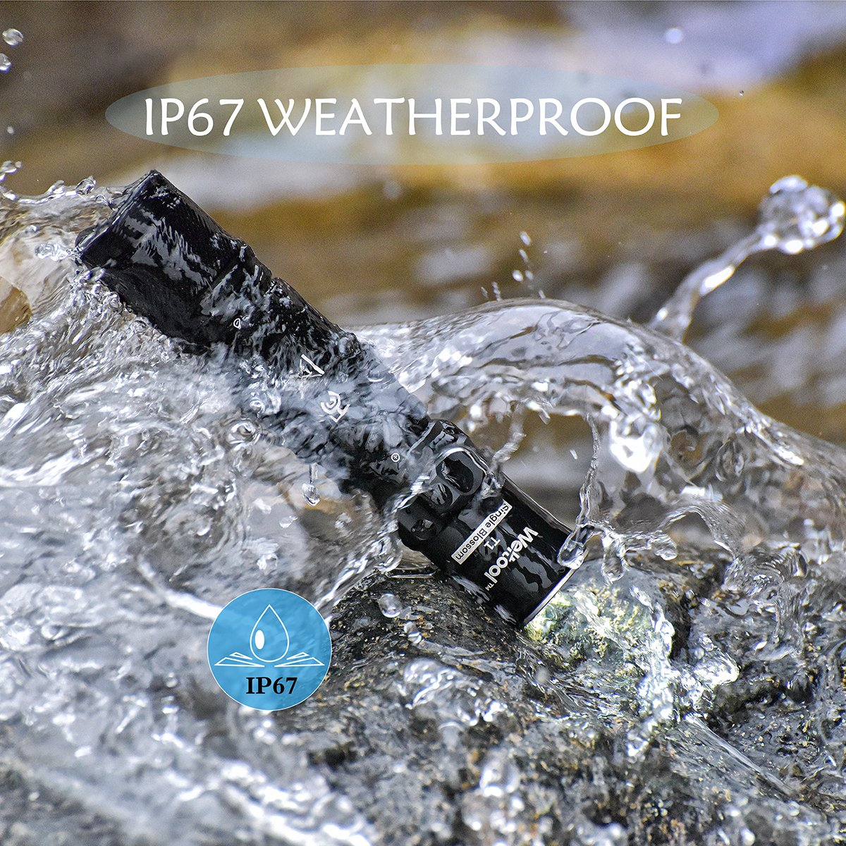 """- 120h Long Lasting T1 /""""Single Blossom/"""" 71042 Weltool Mini LED Flashlight Portable EDC Pocket Light 3 Modes IP67 Powered by AA or 14500 Battery Not Included"""