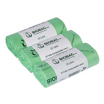 25 litros x 75 bolsas biodegradables para Compost Kitchen - agricultor de basura base aromática para