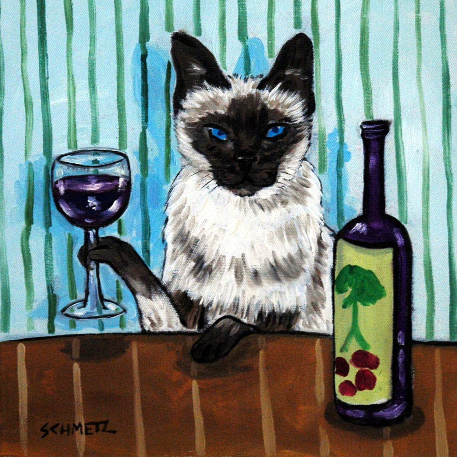 Siamese Cat at the Wine Bar art tile coaster gift