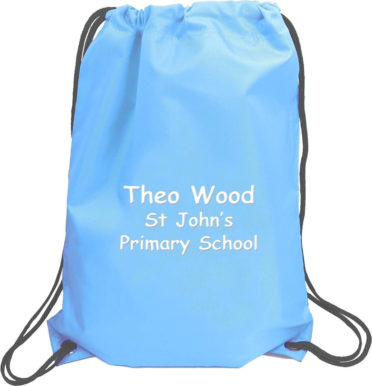 Personalised Name /& School Sports PE Drawstring Gym /& Swimming Bag