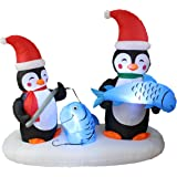 6 Foot Long Lighted Christmas Inflatable Two Penguins Happy Fishing Party Yard Decoration
