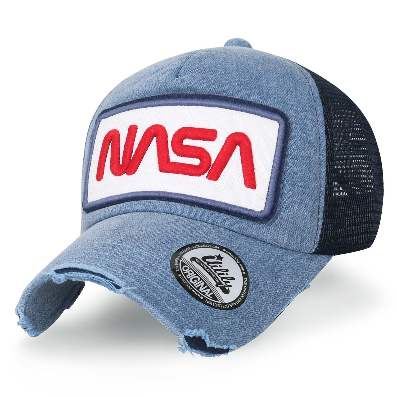 ililily NASA Worm Logo Embroidery Baseball Cap Mesh Snap Back Trucker Hat  (Medium 38b988accd56