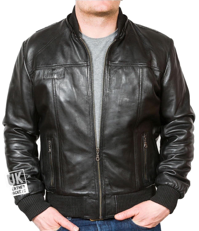 7d58d3106 Men's Black Hooded Leather Bomber Jacket – Troy – High Grade Soft Nappa