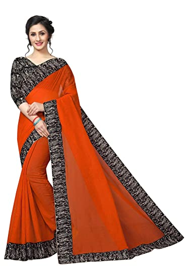 5f64193c1fb women's Georgette light weight saree with blouse piece  (Multi-Color_Free_Size) RK ORANGE: Amazon.in: Clothing & Accessories
