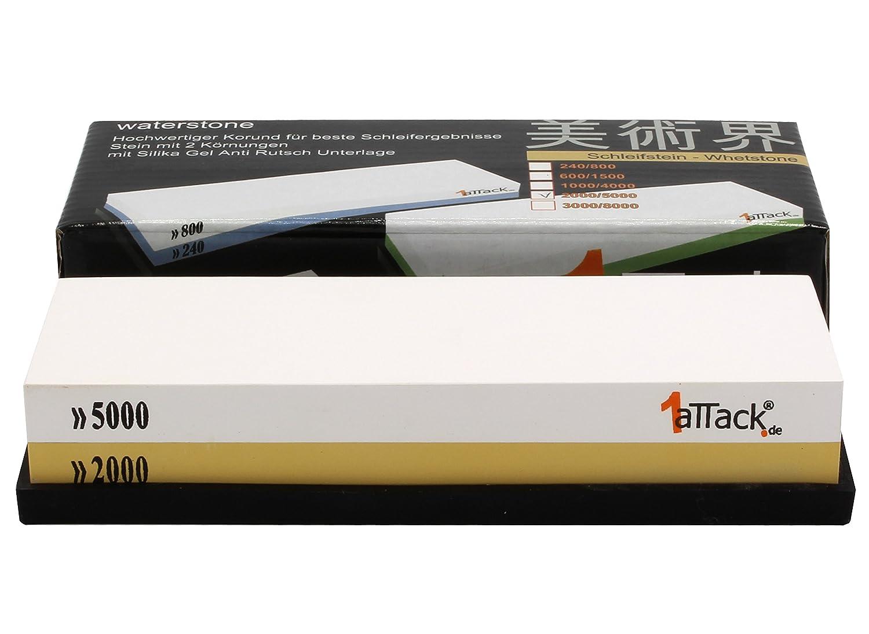 600-1500 K/örnung /inklusive Unterlage aus Naturkautschuk 1aTTack.de Schleifstein mit professionelle Qualit/ät 180/x 60/x 27/mm hohe Qualit/ät Korund wei/ß