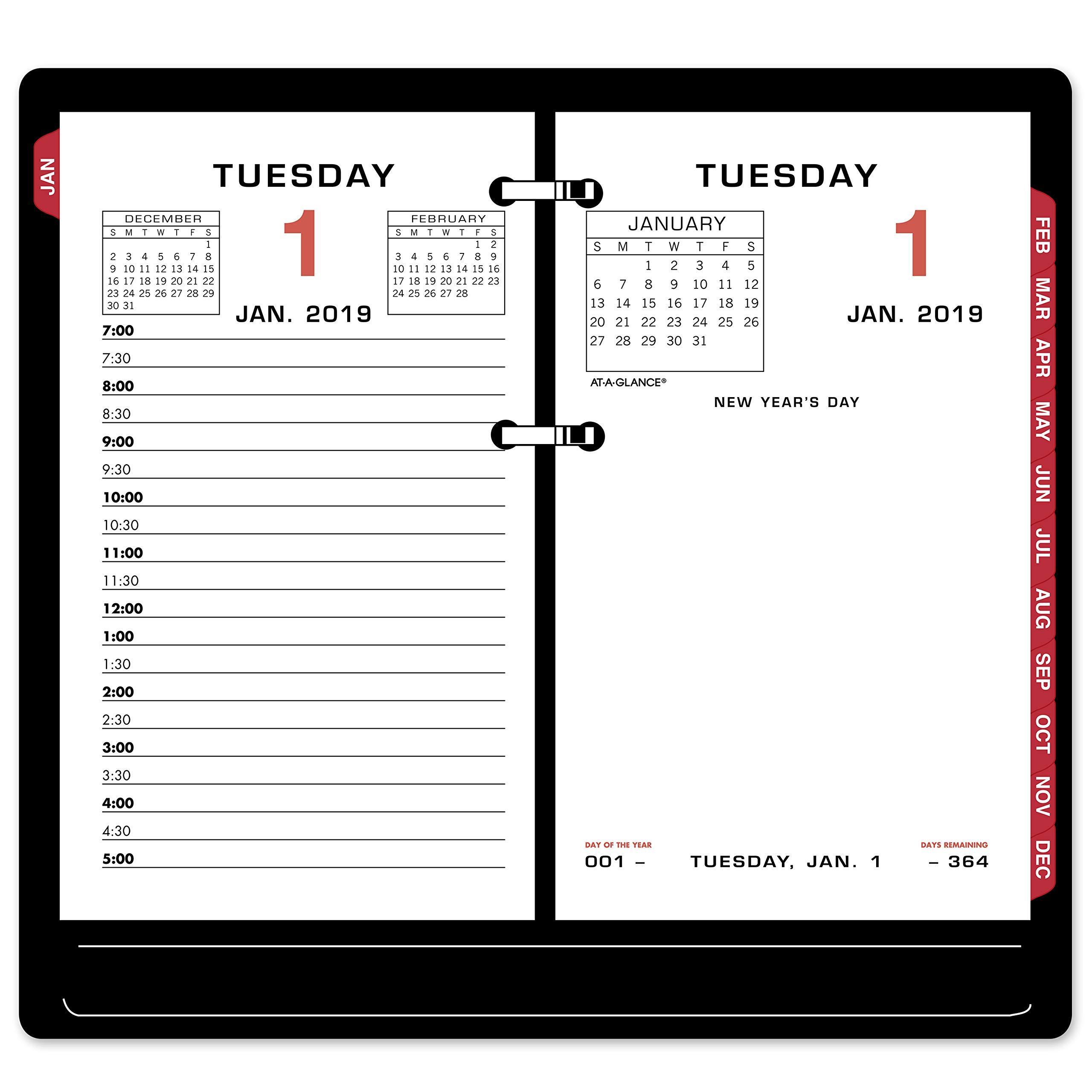 AT-A-GLANCE 2019 Daily Desk Calendar Refill, 3-1/2'' x 6'', Loose Leaf (E01750)