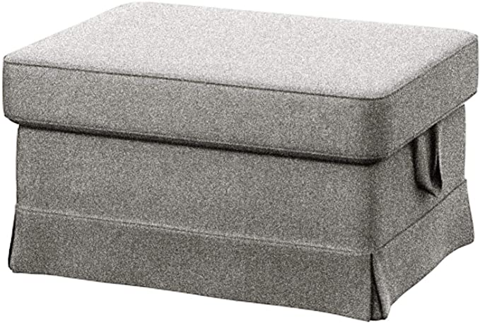 Easy Fit The Heavy Cotton Ektorp Ottoman Cover Replacement is Custom Made for IKEA Ektorp Footstool Or Stool Slipcover (Polyester Flax)