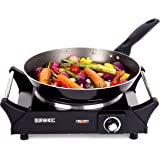 Duronic HP1BK Portable Electric Hot Plate Hob Cooktop Single Boiling Ring Cooker Black Table Top Hotplate 1500W with Handles