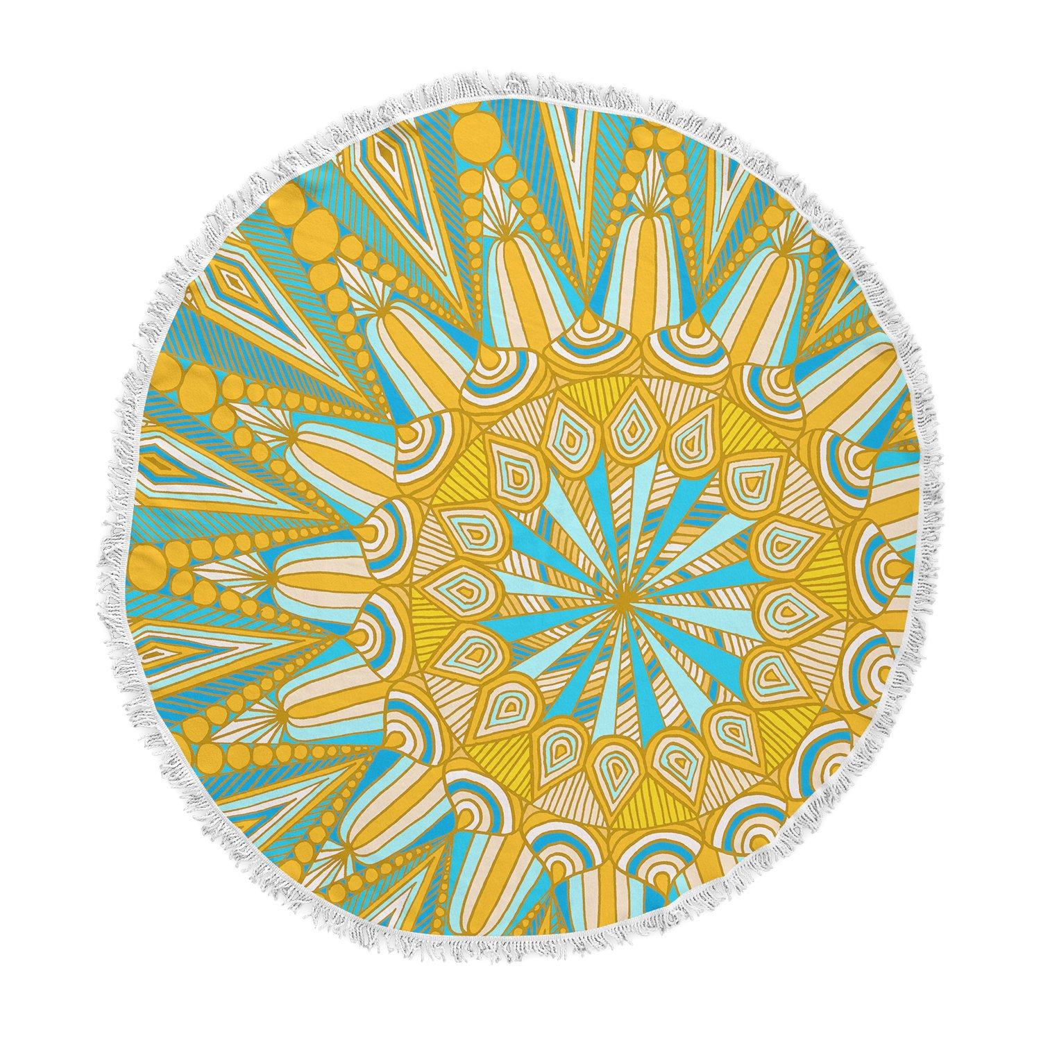 KESS InHouse Art Love Passionhere Comes the Sun Blue Yellow Round Beach Towel Blanket