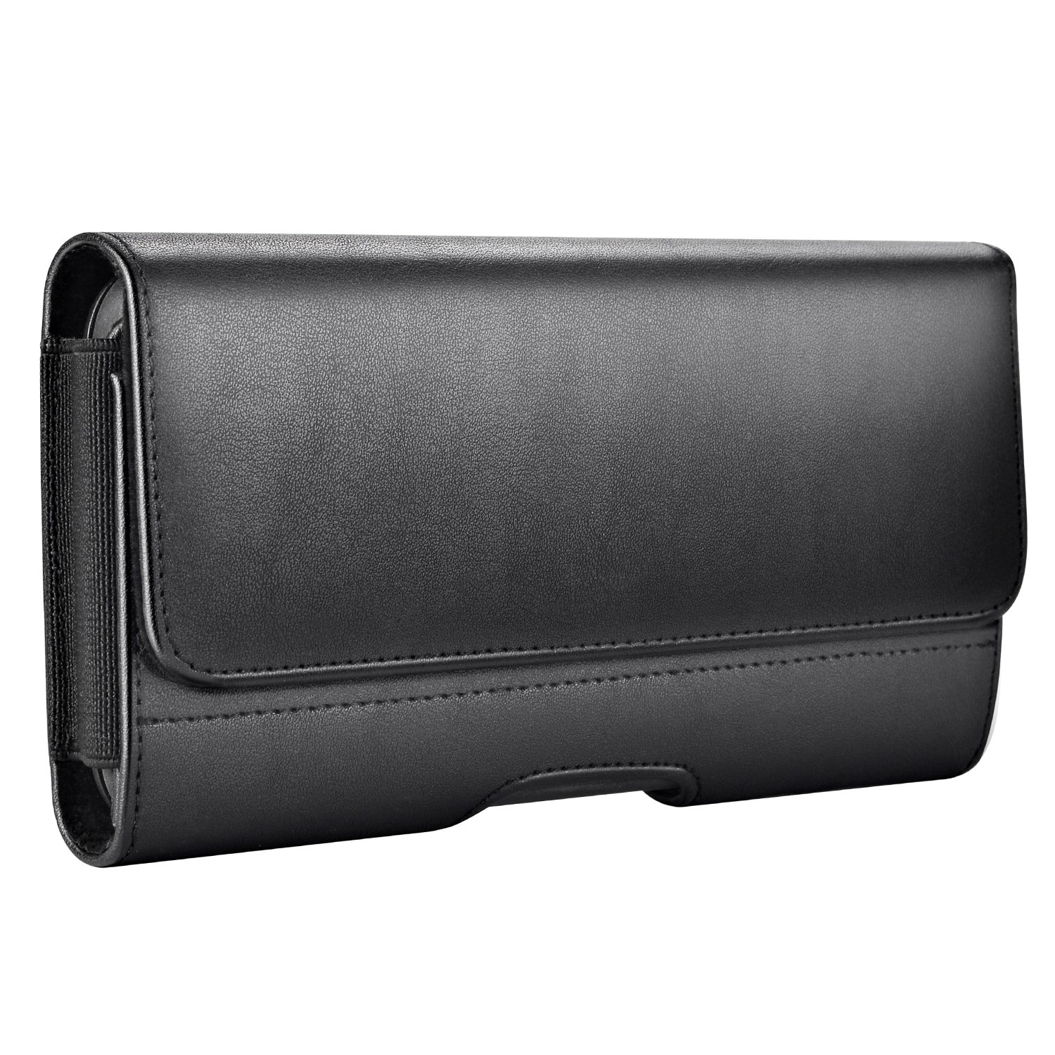 Mopaclle Galaxy S9 Plus S8 Plus Belt Clip Case, Leather Holster Case Carrying Cellphone Pouch for Samsung Galaxy S9 Plus, Galaxy S8 Plus with a Slim Hard Case On - Built In ID Card Slots - Black