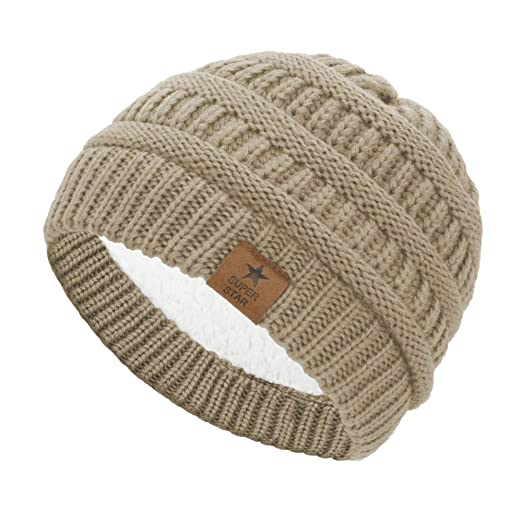 7ca7d9c6aebf02 Durio Soft Infant Toddler Winter Warm Thick Hat Knitted Fleece Lined Baby  Beanies for Boys Girls