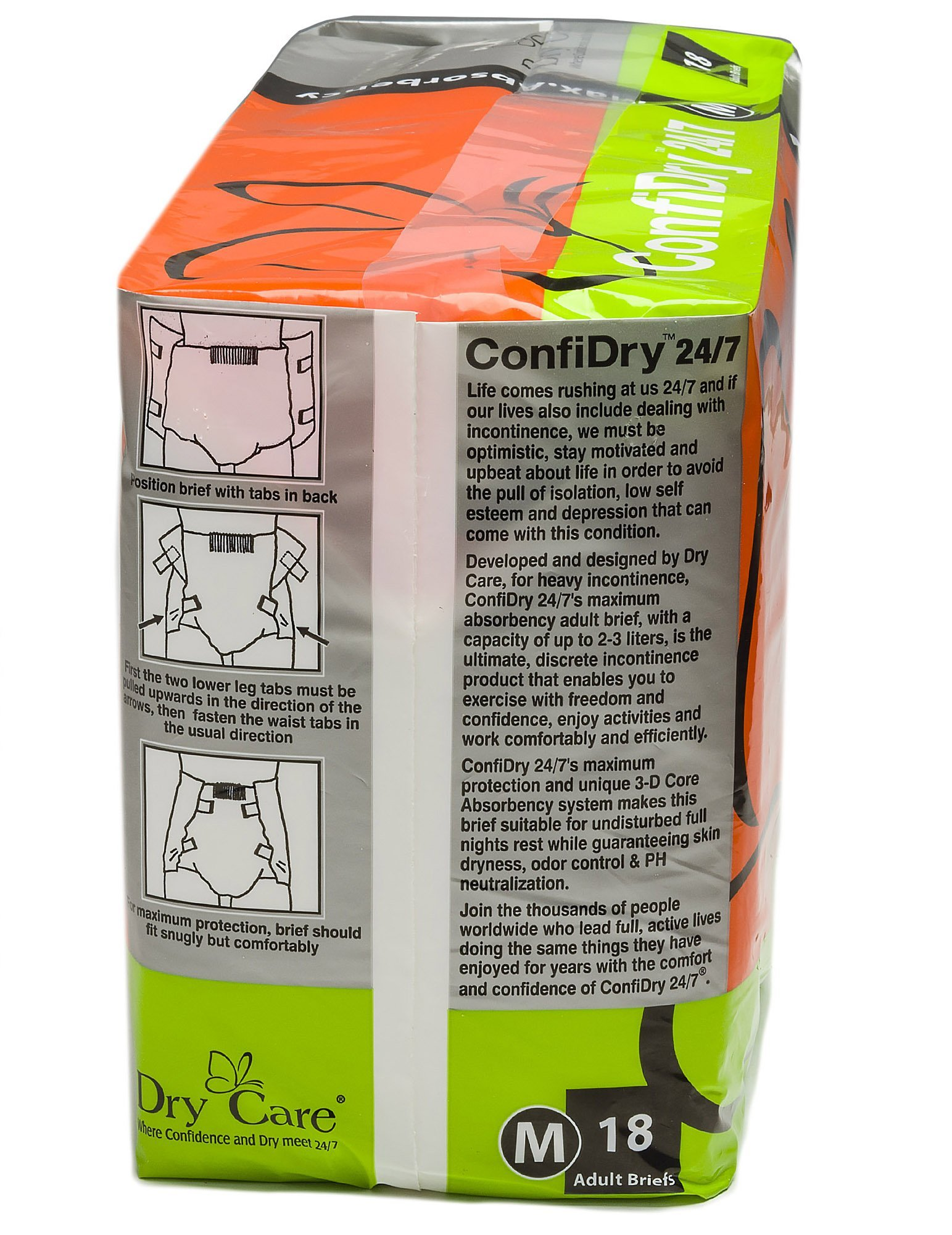 ConfiDry 24/7 Dry Care 24/7 Max AbsorbencyAdult Brief Diapers Case, Medium, 72 Count, Pack of 4