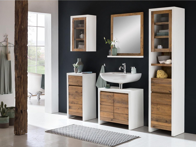Woodkings® Bad Unterschrank Burnham Holz recycelte Pinie Natur rustikal  Kommode Beton Optik Landhaus Möbel Badmöbel Badezimmer Badezimmerschrank