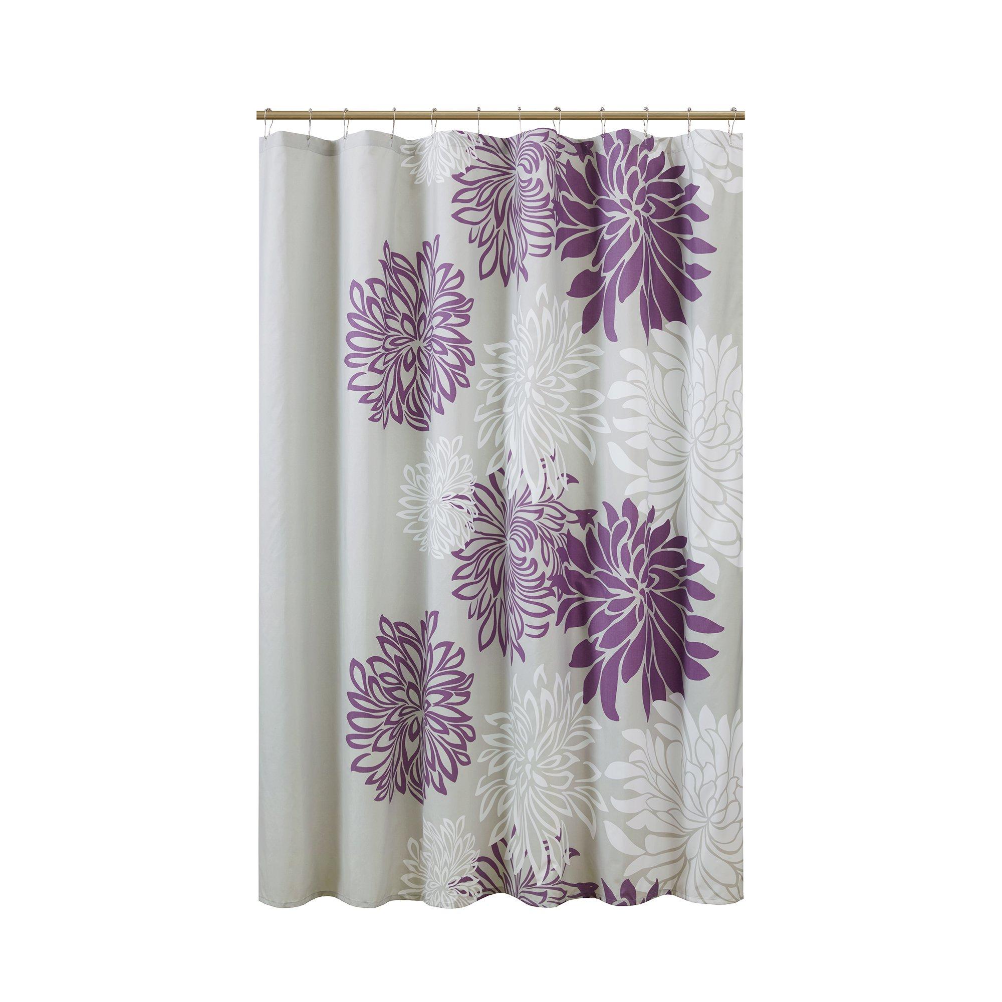 Comfort Spaces Enya Shower Curtain – Purple, Grey – Floral Printed ...