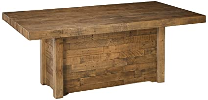 Ashley Furniture Signature Design Sommerford Dining Room Table Casual Rectangular Brown Finished Reclaimed Pine Wood Butcher Block Style