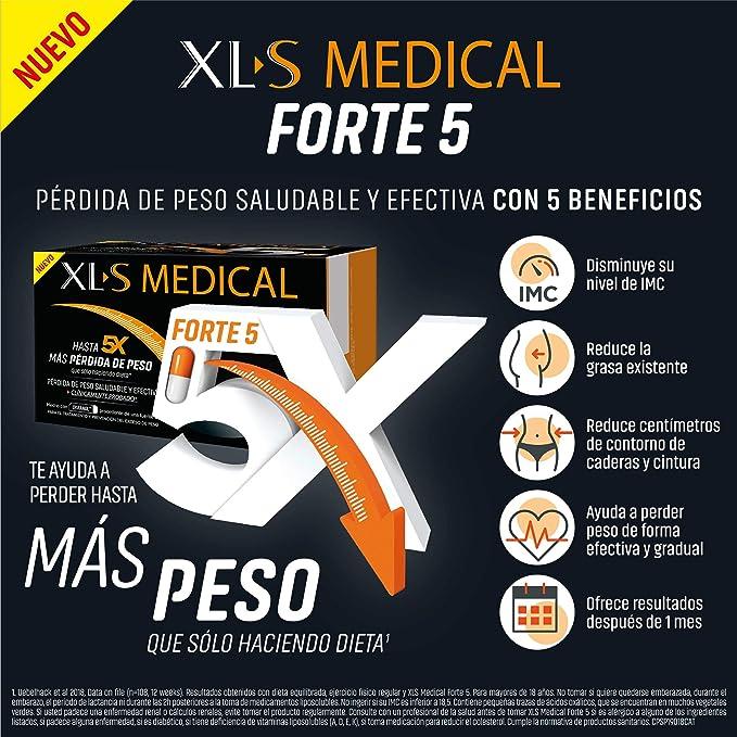 XLS Medical Forte 5 - Más Efectivo que solo haciendo Dieta - Ingredientes de Origen Natural - Tratamiento Captagrasas para Perder Peso - 180 Cápsulas, ...