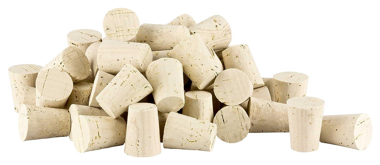100 tapered cork stoppers (bottle stoppers, conical cork, bung stopper) | length = 32 mm, ⌀ = 20-25 mm (for wine bootles or big test tubes 32x25/20) Natural Corks Kork-Deko Kork-Deko_100_Spitz_Fl