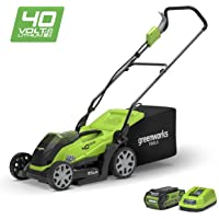 Greenworks Tondeuse à gazon sans fil sur batterie 35cm 40V Lithium-ion avec batterie 2Ah et chargeur - 2501907UA