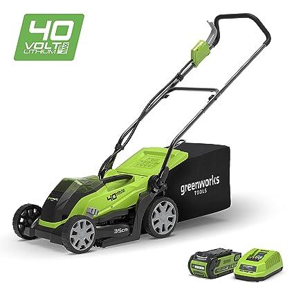 Greenworks Cortacésped inalámbrico 35cm, 40V Li-Ion con batería de 2Ah y cargador -