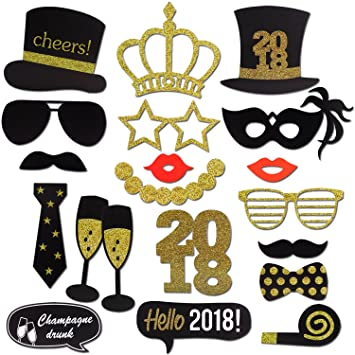 2018 New Years Photo Booth Props Kit(20Pcs), Konsait Funny New Years ...