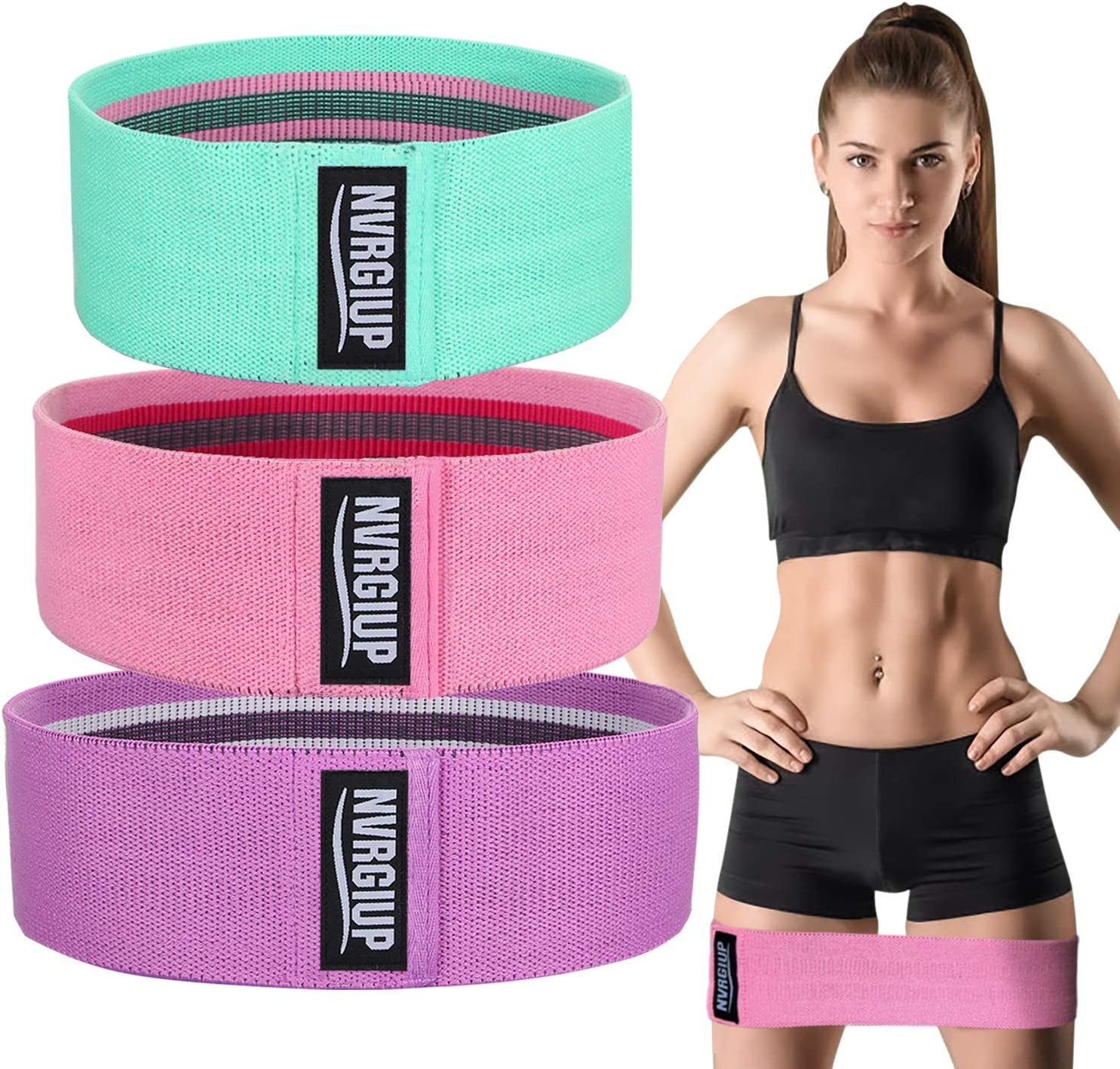 NVRGIUP Exercise Resistance Bands for Legs and Glute, Upgrade Thicken Anti-Slip & Roll Home Gym Workout Booty Bands, Wide Fabric Loop Thigh Squat Bands Set for Women with Ebook & Video