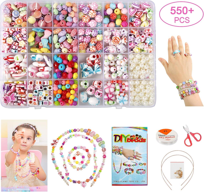 BelleStyle Niños Bricolaje Conjunto de Cuentas, 550Pcs 24 Tipos DIY Artesanía Koyería Cuentas para Hacer el Collar, Anillo de Pulsera para Niños Niña Regalo