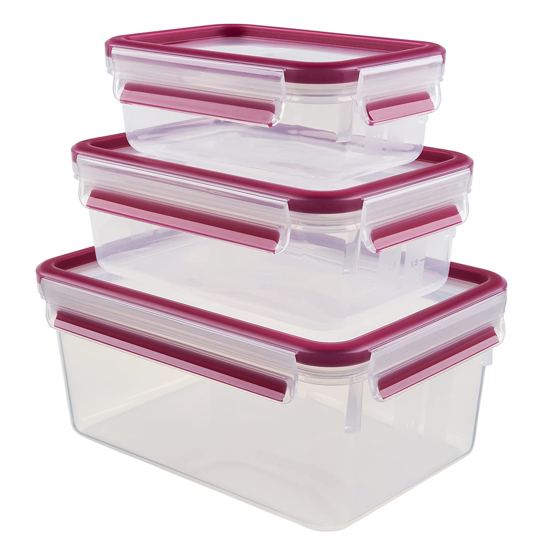 Emsa 508568 Clip & Close 5-piece set of food storage containers, various sizes, transparent/blue