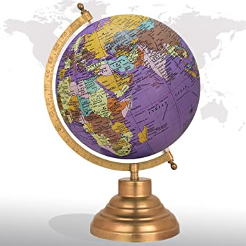 Decorative rotating world map globe purple 8 inches metal base decorative rotating world map globe purple 8quot inches metal base educational globe office table dcor gumiabroncs Image collections