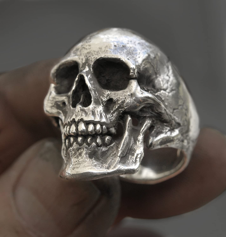 Handmade Sterling Silver Skull Men's Ring - DeluxeAdultCostumes.com