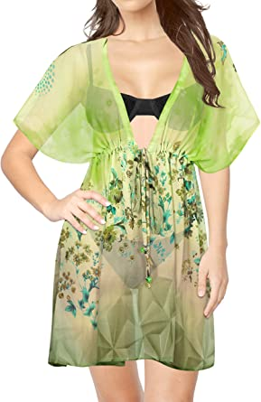 6afd05ce5f LA LEELA Women's Swimsuit Beach Cover up Dress Green_Y423 OSFM 14-24W [L-