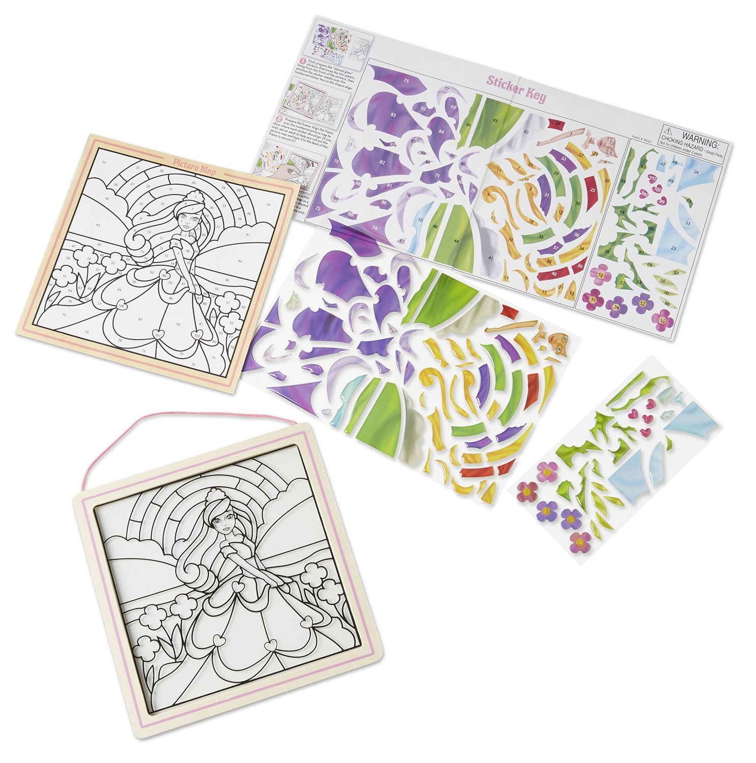 Princess 100 Stickers Wooden Frame Melissa /& Doug Stained Glass Made Easy Activity Kit