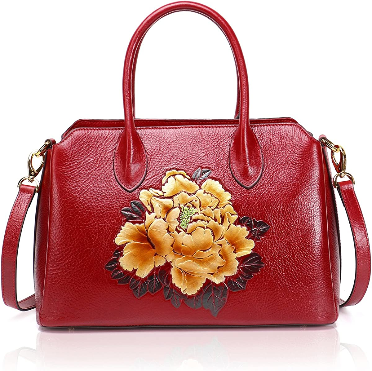 APHISON Designer Unique Embossed Floral Cowhide Leather Tote Style Ladies Top Handle Bags Handbags