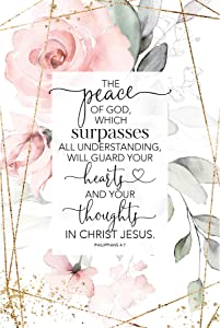Peace of God Wood Plaque with Inspiring Quotes 6 in x 9 in - Vertical Frame Wall & Tabletop Decoration | Easel & Hanging Hook | Guard Your Hearts and Your Thoughts in Christ Jesus. Philippians 4:7