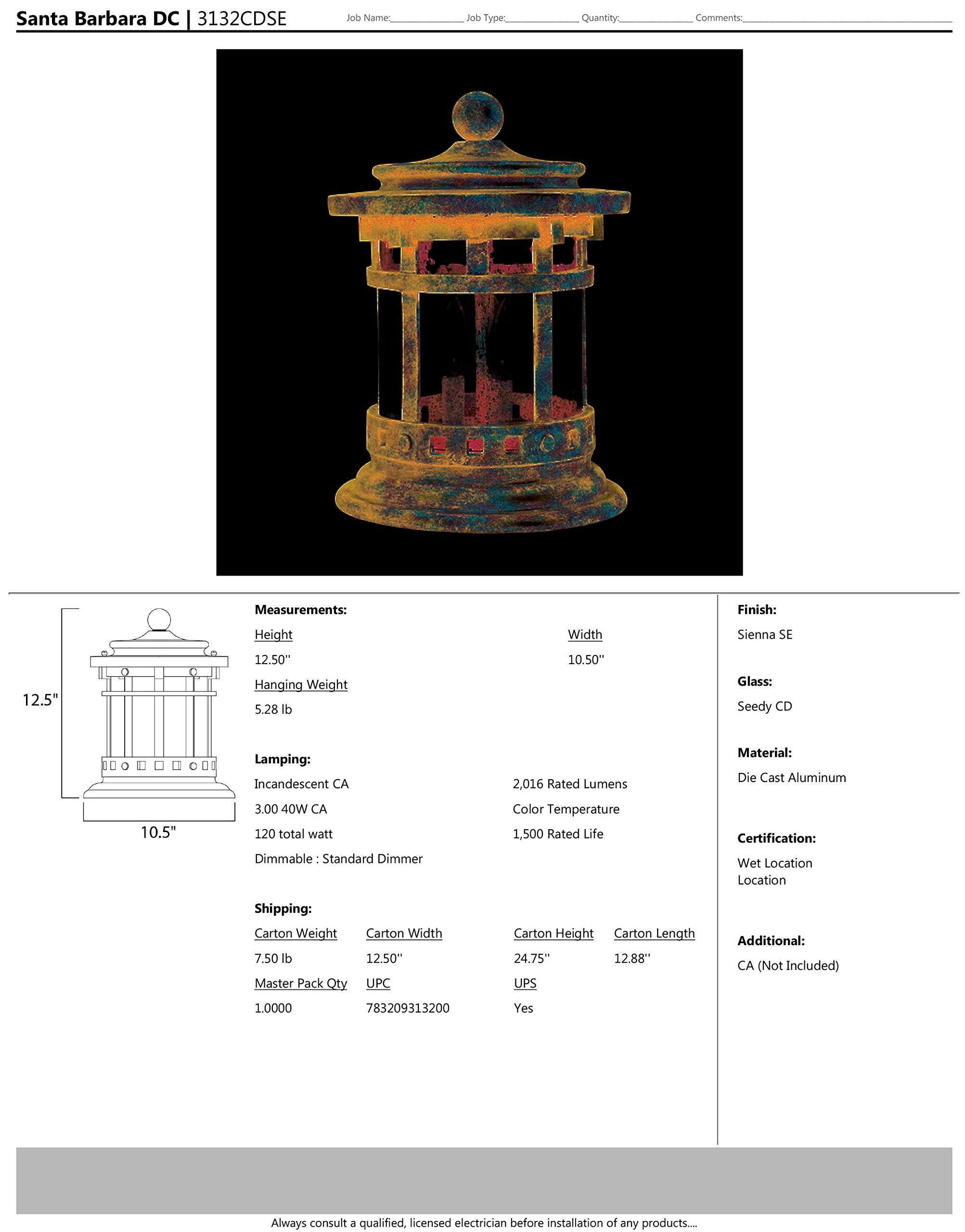 Maxim 3132CDSE Santa Barbara Cast 3-Light Outdoor Deck Lantern, Sienna Finish, Seedy Glass, CA Incandescent Incandescent Bulb , 60W Max., Damp Safety Rating, Standard Dimmable, Frosted Glass Shade Material, Rated Lumens by Maxim Lighting (Image #2)