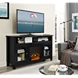"Janes Gallerie 58"" Wood Highboy Fireplace TV Stand - Black"