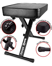 RockJam Xfinity Heavy-Duty, Double-X, Pre-Assembled, Infinitely Adjustable Piano Keyboard Stand with Locking Straps Keyboard Bench Black